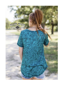 Crazy Train Reversible Shirt Turquoise Blue Tooled Look Cow Print Short Sleeve Top