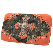 Camo Bling Rhinestone Cross Womens Ladies Western Flat Wallet Black Brown Green Orange Pink