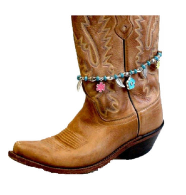 Beaded Flower Feather Boot Anklet Strap Western Charm Jewelry Pink Turquoise Blue