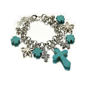 "Cross Flower Charm Western Ladies Womens Clasp Bracelet 7""- 9"" Turquoise Blue Silver Tone"