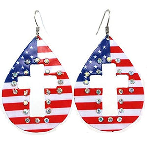 USA Flag American Patriotic Stars July 4th Memorial Day Bling Cut Out Cross Earrings Red White Blue