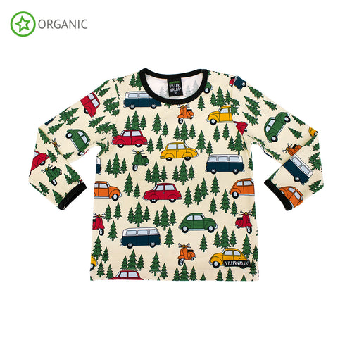 Villervalla Forest Car T-Shirt Long Sleeve - Oat