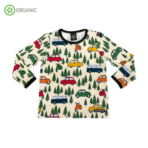 Villervalla T-Shirt Long Sleeve - Forest Car - Oat