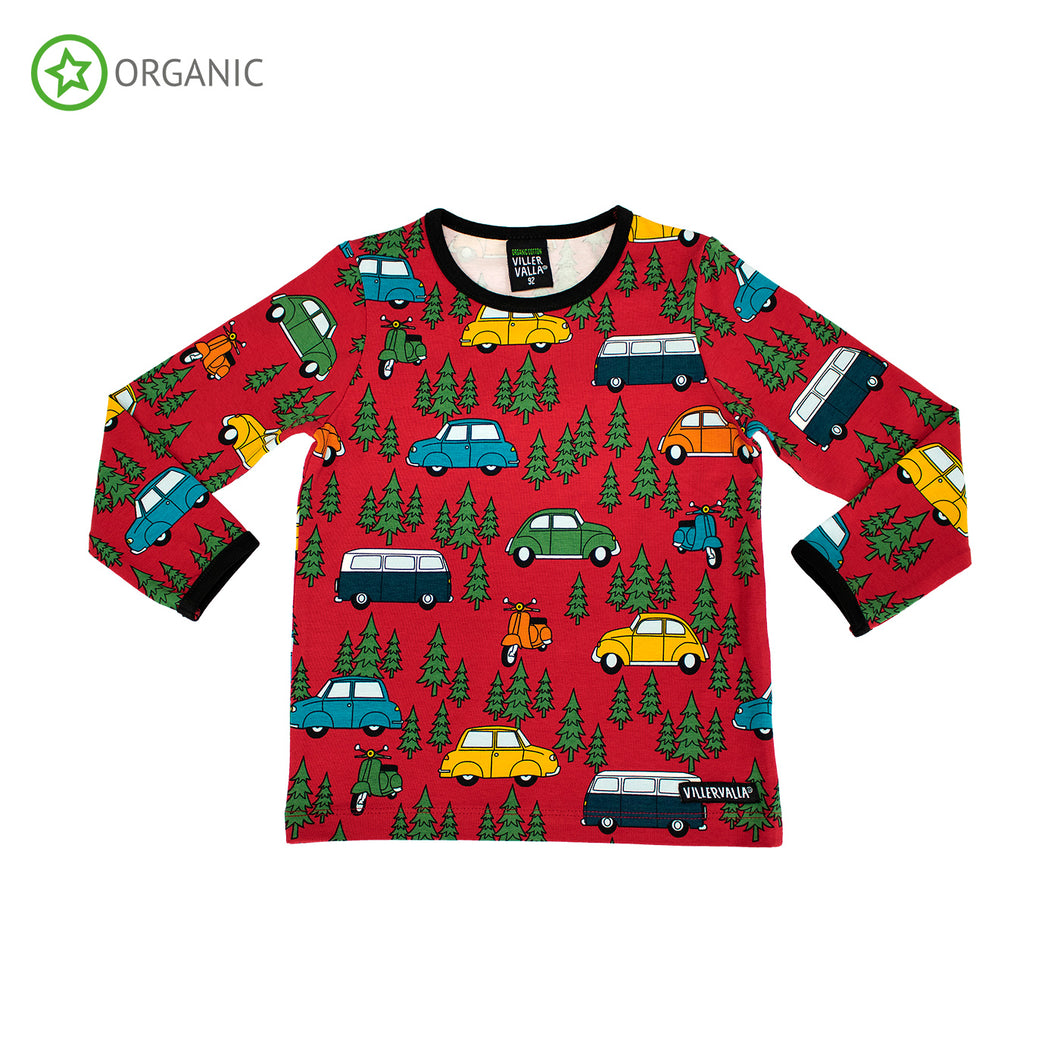 Villervalla Forest Car T-Shirt Long Sleeve - Tango
