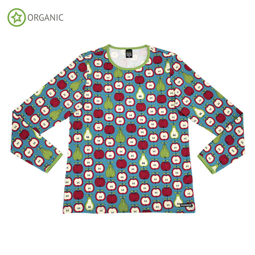 Villervalla T-Shirt Long Sleeve - Solid Basic - Garden Fruit Print Fjord - The Thrifty Stork