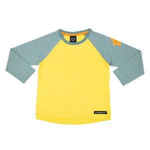 Villervalla Relaxed T-Shirt Long Sleeve - Stripes - Sunflower/Cement