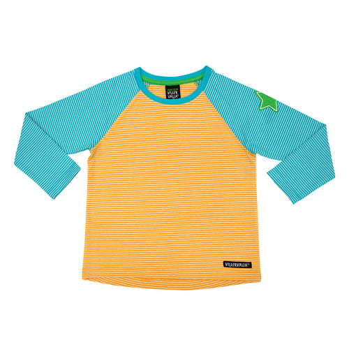 Villervalla Relaxed T-Shirt L/S - Stripes - Tangerine/Reef