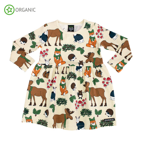 Villervalla Dress Long Sleeve With Gathering - Nordic Animals - Oat