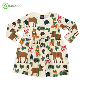 Villervalla Nordic Animals Dress Long Sleeve With Gathering - Oat