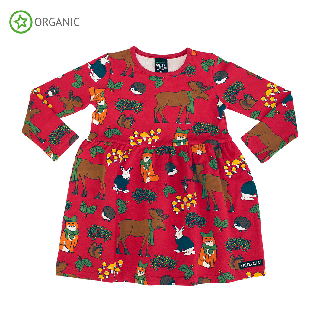 Villervalla Nordic Animals Dress Long Sleeve With Gathering - Tango
