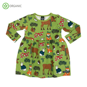 Villervalla Nordic Animals Dress Long Sleeve With Gathering - Turtle