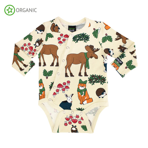 Villervalla Nordic Animals Body Long Sleeve With Slanted Opening - Oat