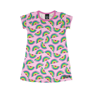 Villervalla Dress Short Sleeve - Rainbow - Light Petunia