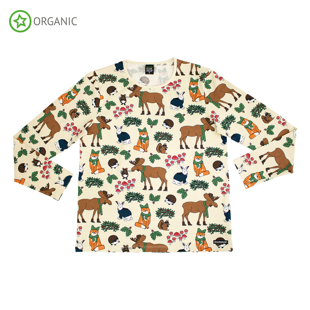 Villervalla Adult Nordic Animals Relaxed T-Shirt Long Sleeve - Oat