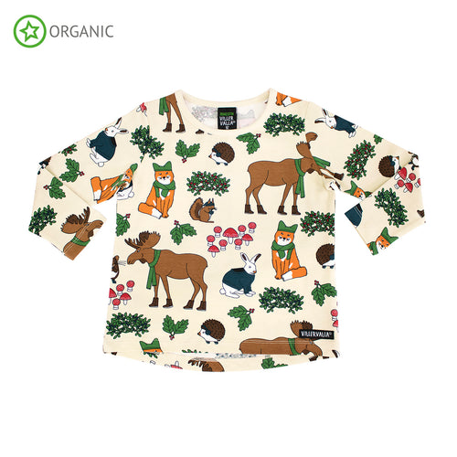 Villervalla Nordic Animals Relaxed T-Shirt Long Sleeve - Oat