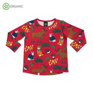 Villervalla Relaxed T-Shirt Long Sleeve - Nordic Animals - Tango