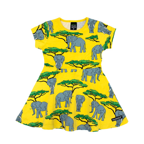 Villervalla Half Circle Dress Short Sleeve - Animal - Elephant