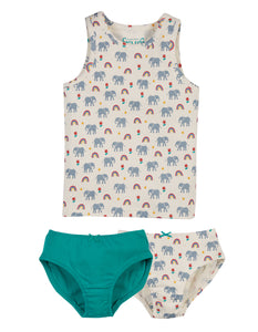 Frugi Vest And Brief 3 Piece Set Elephants