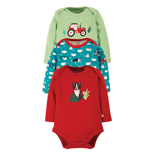 Frugi Super Special Bodies Long Sleeve - Tractor (3 Pack Multipack)