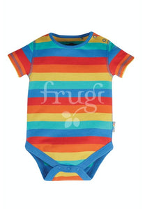 Frugi, Everyday Short Sleeve Body, Rainbow Stripe