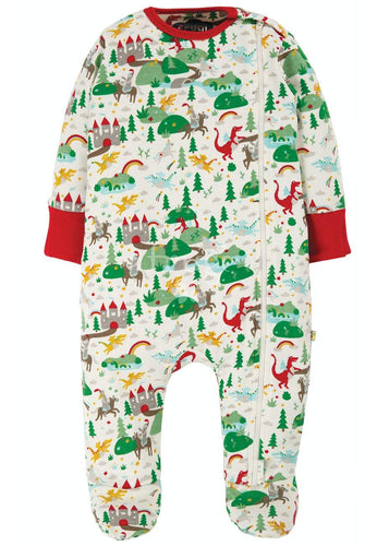 New Release Frugi Zipped Babygrow Multi Mini Fairytale - The Thrifty Stork