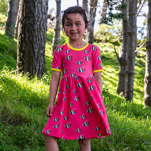Coddi & Womple Short Sleeve Skater Dress Moorish The Secret Agent Fish Pink - The Thrifty Stork