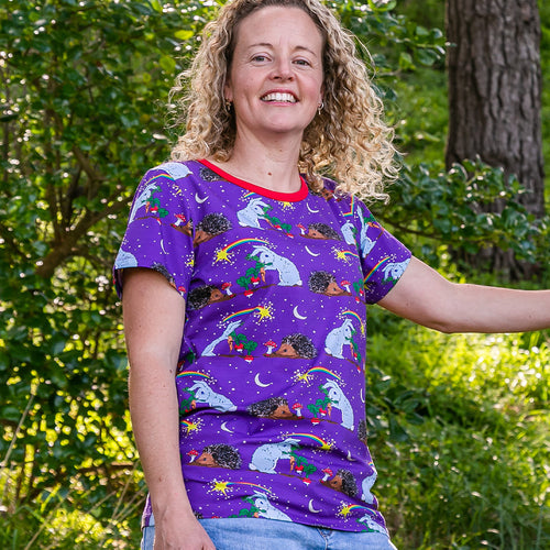 Coddi & Womple Adult Short Sleeve T-Shirt Thistle And The Moon - The Thrifty Stork