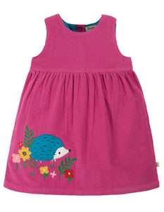 Frugi Lily Cord Dress No Sleeve - Foxglove Hedgehog - New Release
