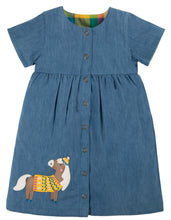 Frugi Romilly Reversible Dress Short Sleeve - Chambray/Horse