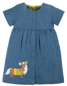NEW RELEASE Frugi  Romilly Reversible Dress Chambray/Horse