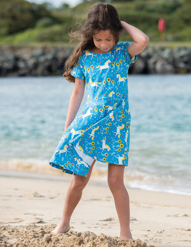 Frugi Spring Skater Dress Unicorn Skates