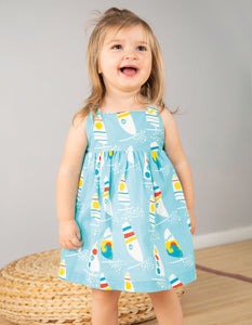 Frugi Jess Party Dress Bright Sky Ride The Waves