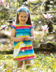 Frugi Little Lola Dress Flamingo Multi Stripe/Unicorn