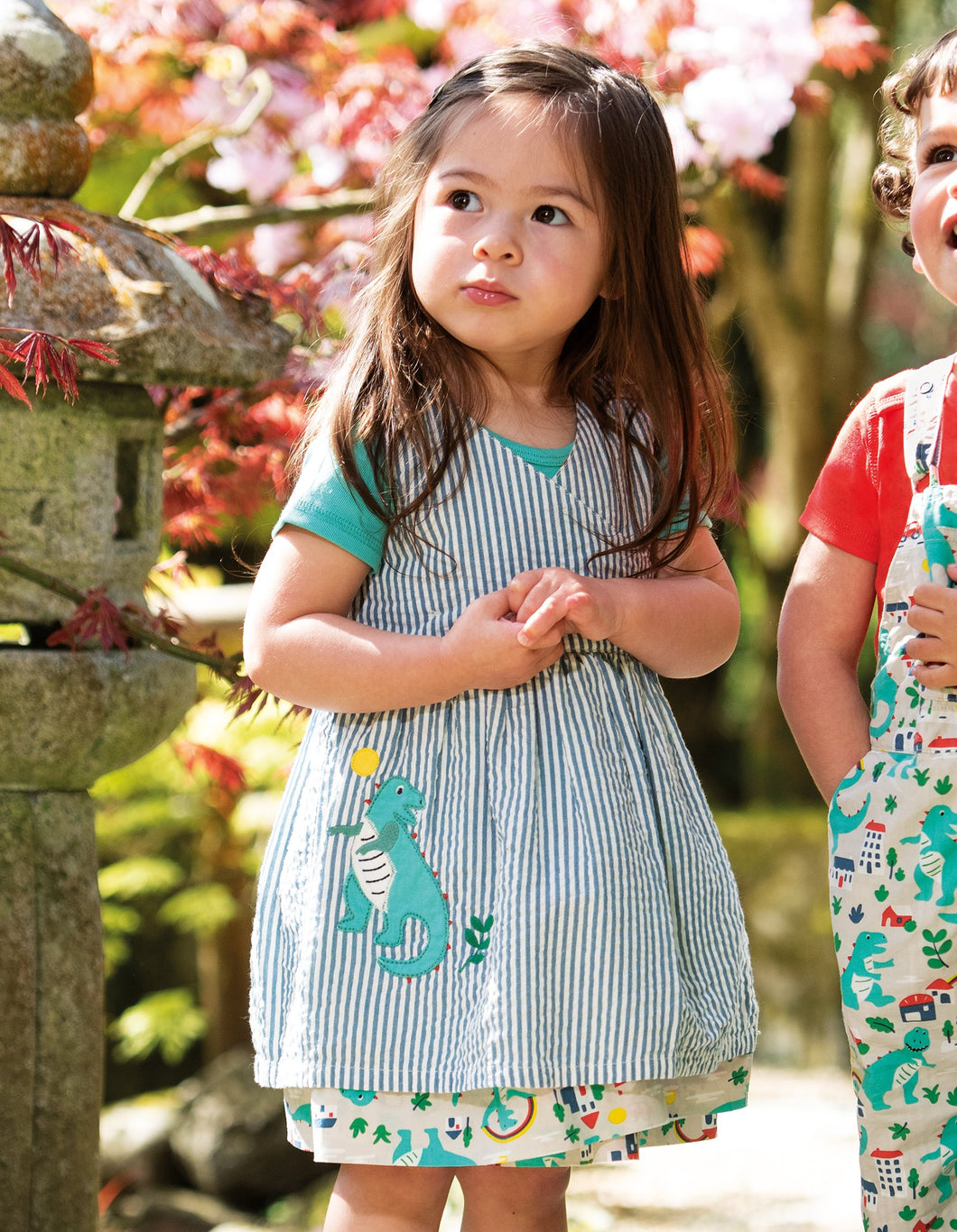 Frugi Nora Reversible Dress Seersucker Stripe/Dino