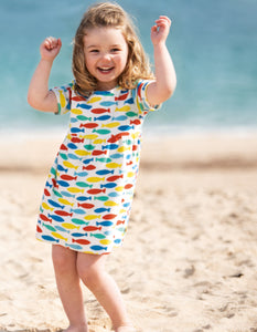 Frugi Towelling Sun Dress Rainbow Fish