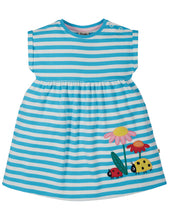 Frugi, Fliss Applique Dress, Mid Blue Stripe/Ladybird