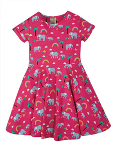 Frugi, Spring Skater Dress, Deep Pink Rainbow Walks