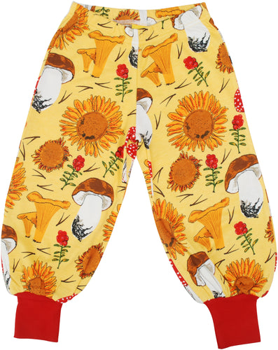DUNS Sweden Baggy Pants - Sunflowers & Mushrooms Sunshine Yellow *
