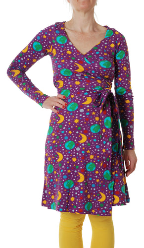 DUNS Sweden Adult Wrap Dress Long Sleeve - Mother Earth Bright Purple