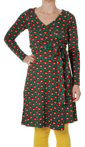DUNS Sweden Adult Wrap Dress Long Sleeve - Radish Black - NEW RELEASE!