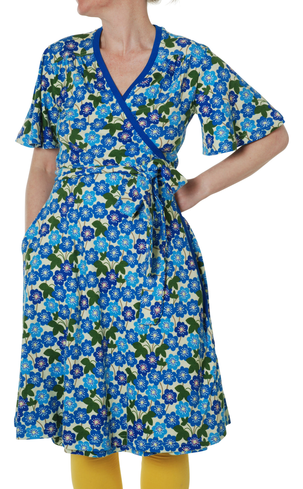 DUNS Newith Wrap Dress with flutter sleeve Hepatica Nobilis