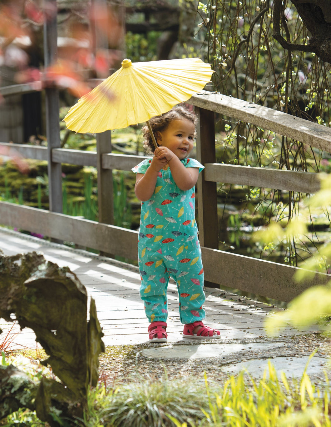 Frugi Niamh Gathered Playsuit Pacific Aqua Parasols