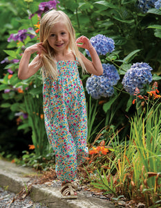 Frugi, Safia Smocked Dungaree, Ditsy Flower Valley