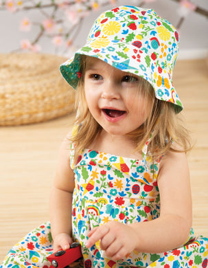 Frugi Reversible Ditsy Hat Allotment Days