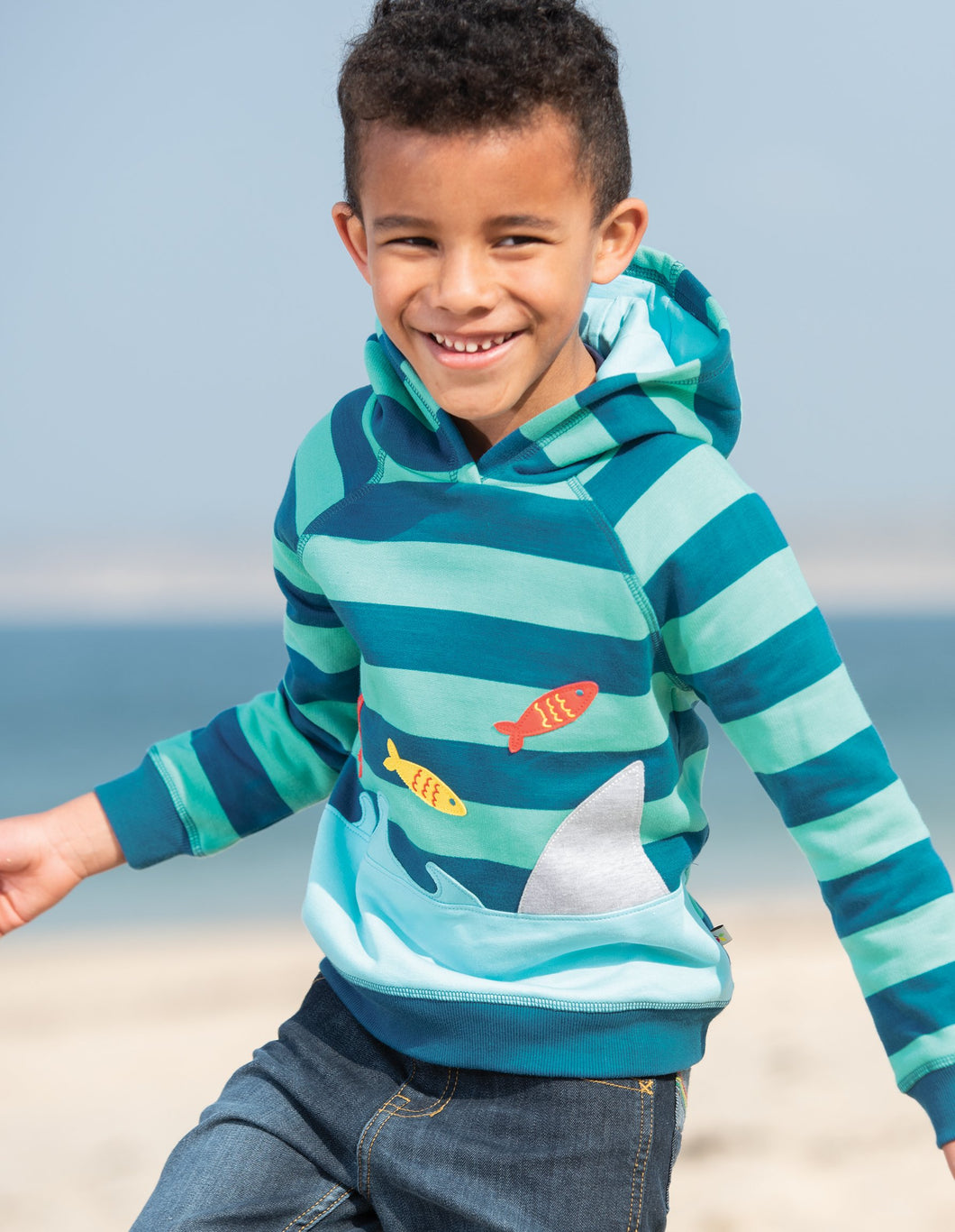 Frugi Hedgerow Hoody Pacific Aqua Stripe/Shark