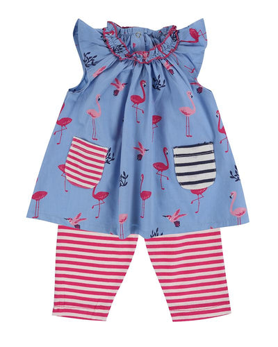 Lilly And Sid Dress/Leggings Set- Flamingo - The Thrifty Stork