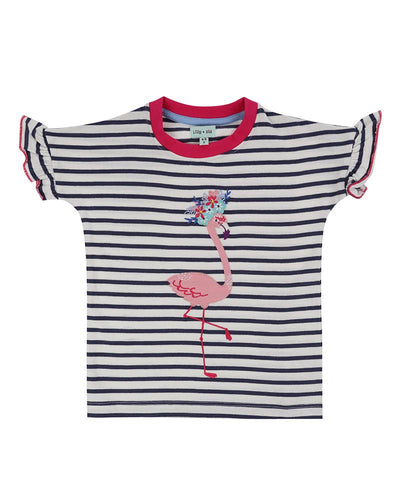 Lilly And Sid Applique Top- Flamingo - The Thrifty Stork