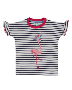 Lilly and Sid Applique Top- Flamingo