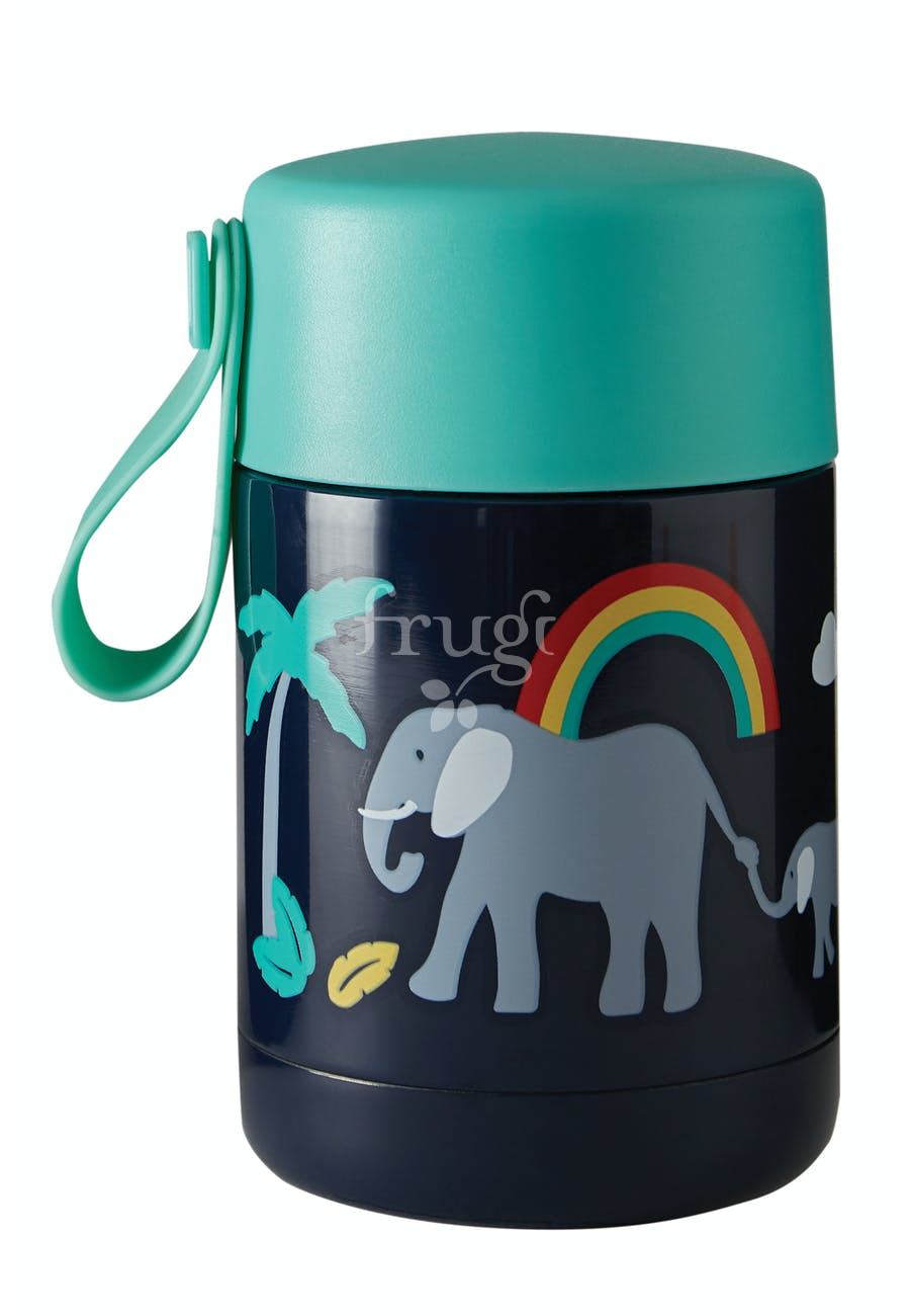 Frugi Yummy Insulated Food Flask - Indigo/Elephant