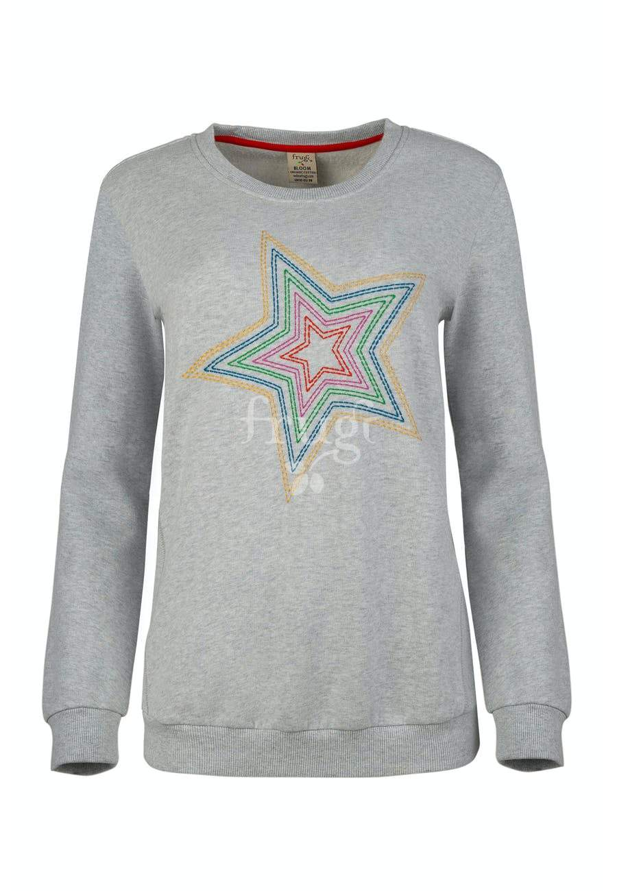 New Release Frugi Bryony Adult Jumper Grey Marl/Star - The Thrifty Stork